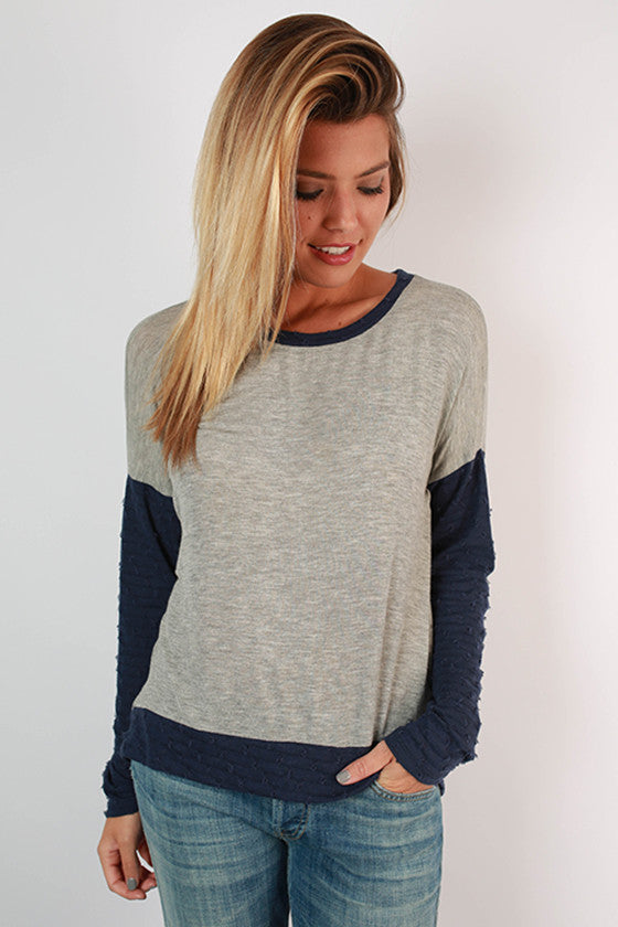 So Comfy So Chic Top in Navy