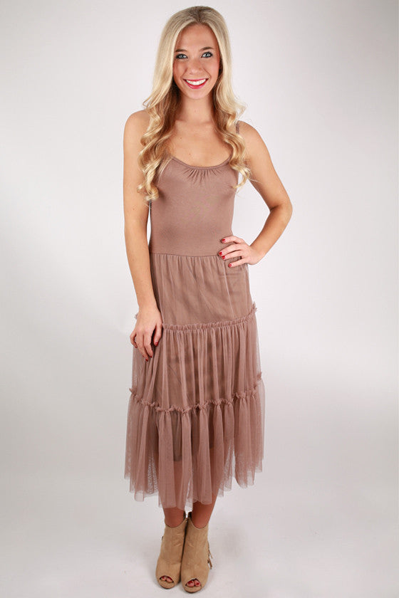 Twirl Me Around Right Now Dress in Mocha