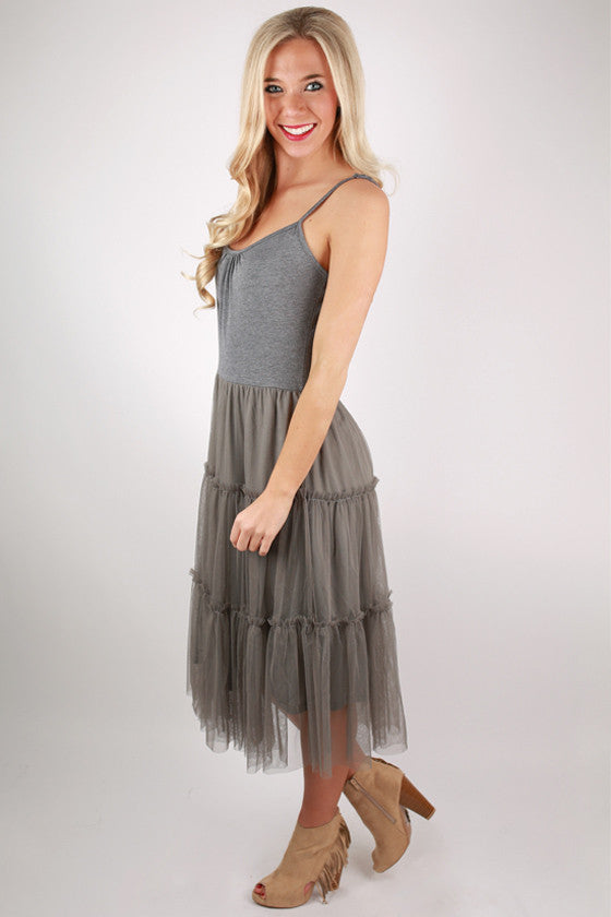 Twirl Me Around Right Now Dress in Grey