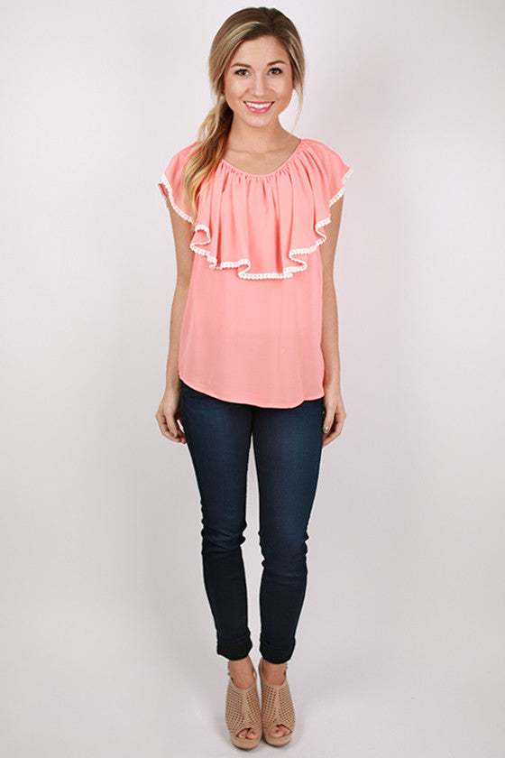 Must Be Love Ruffle Top in Coral