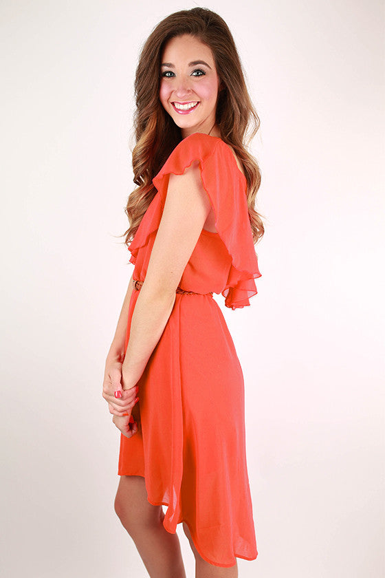 Head In The Clouds Dress in Coral