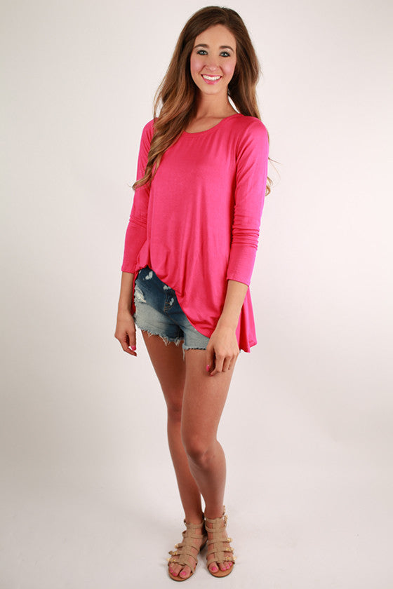 Smitten Swing Tee in Hot Pink