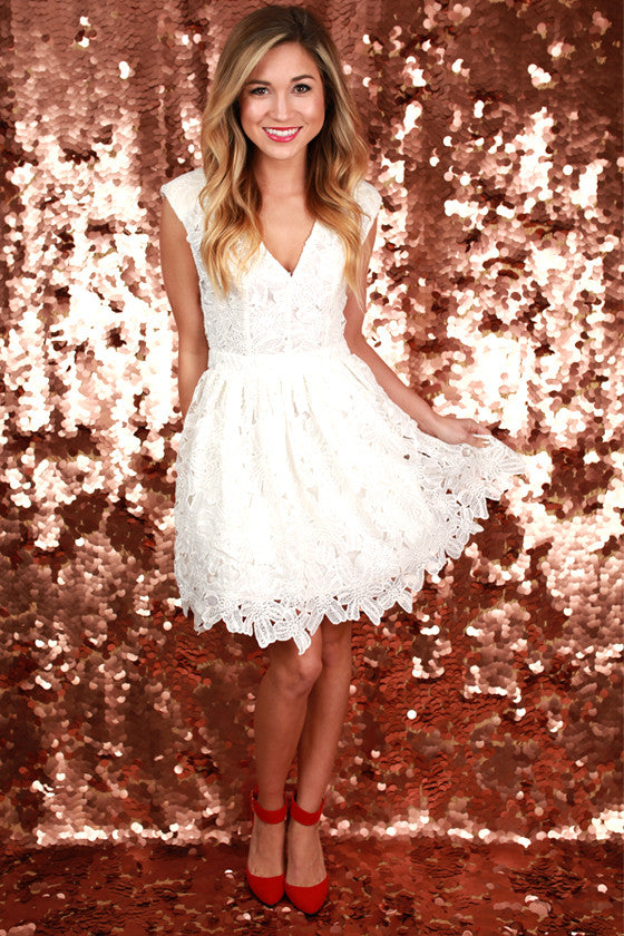 Lace Confessions Dress in White