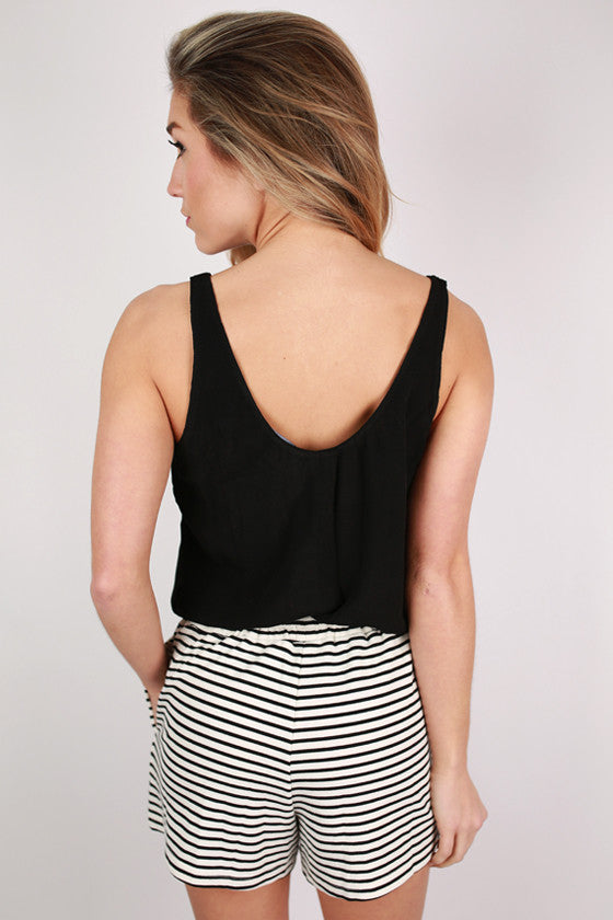 Striped Dreaming Romper in Black
