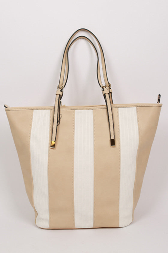 Happy Stripes Tote in Beige