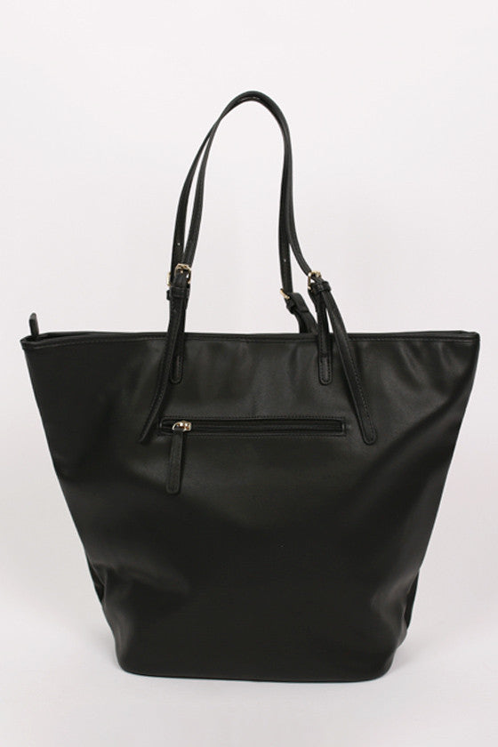 Happy Stripes Tote in Black