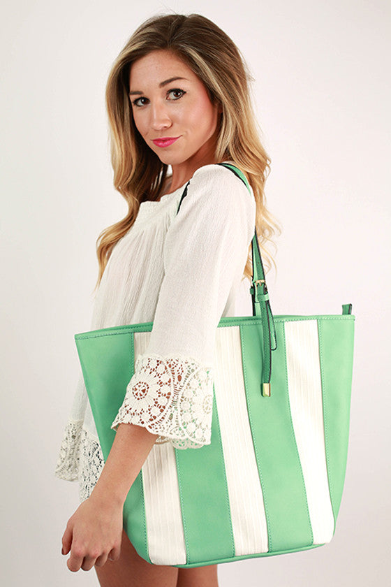 Happy Stripes Tote in Mint