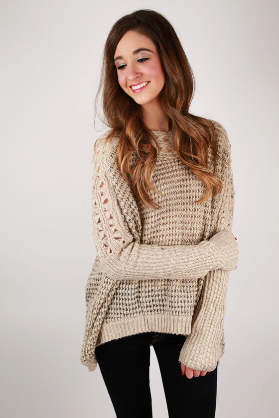 Positive Vibes Sweater in Taupe