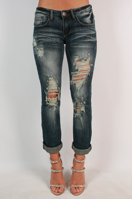 Roll Up Distressed Skinny in Medium Blue
