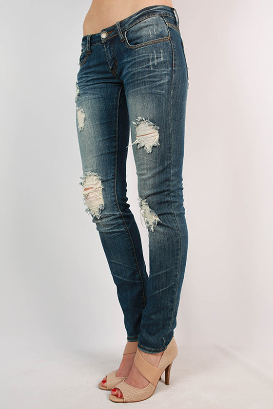 Five Pocket Distressed Skinny Jean in Medium Blue
