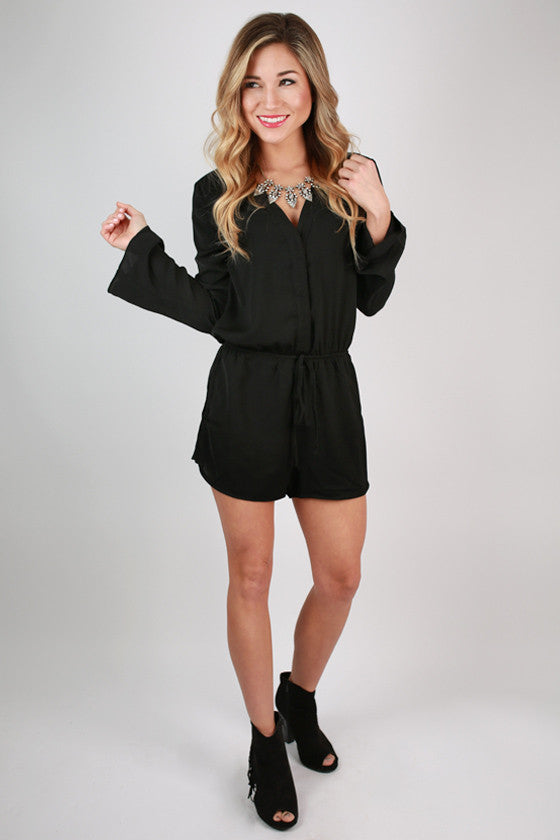 Caribbean Dreaming Romper in Black