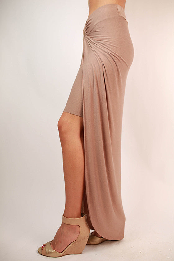 Long Walks On The Beach Maxi Skirt in Mocha