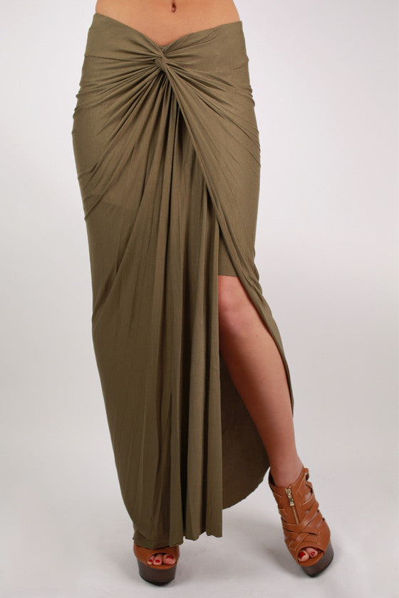 Long Walks On The Beach Maxi Skirt in Olive