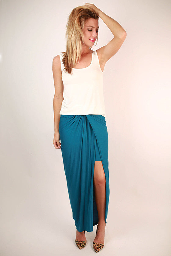 Long Walks On The Beach Maxi Skirt in Sea Blue