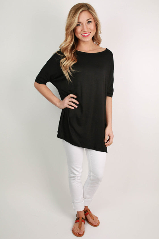 Bamboo Scoop Neck Short Sleeve Tee in Black