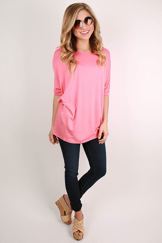 Bamboo Scoop Neck Short Sleeve Tee in Baby Pink