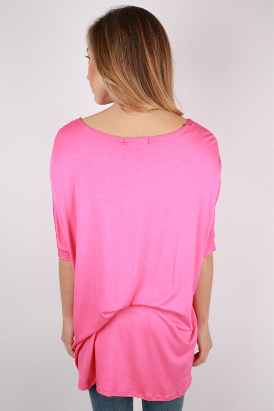 Bamboo Scoop Neck Short Sleeve Tee in Pink