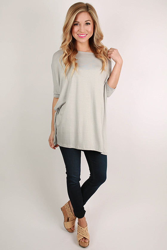 Bamboo Scoop Neck Short Sleeve Tee in Silver