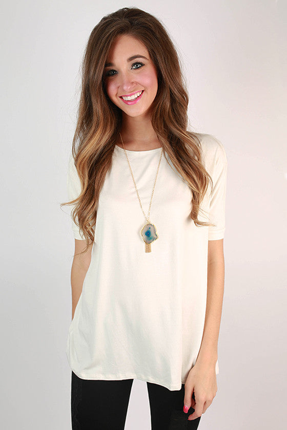 Bamboo Scoop Neck Short Sleeve Tee in Ivory
