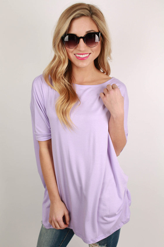 Bamboo Scoop Neck Short Sleeve Tee in Lavender