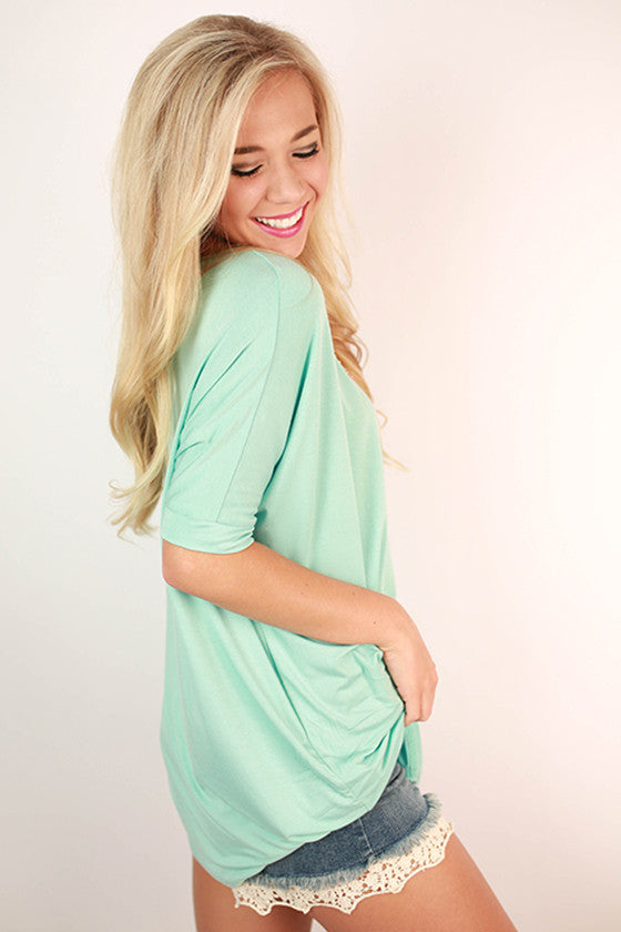 Bamboo Scoop Neck Short Sleeve Tee in Mint