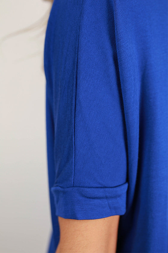 Bamboo Scoop Neck Short Sleeve Tee in Royal Blue
