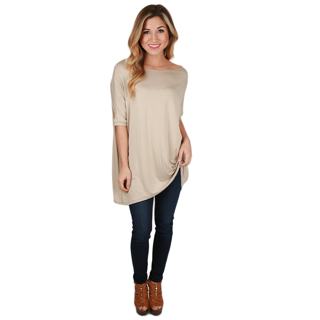 Bamboo Scoop Neck Short Sleeve Tee in Taupe