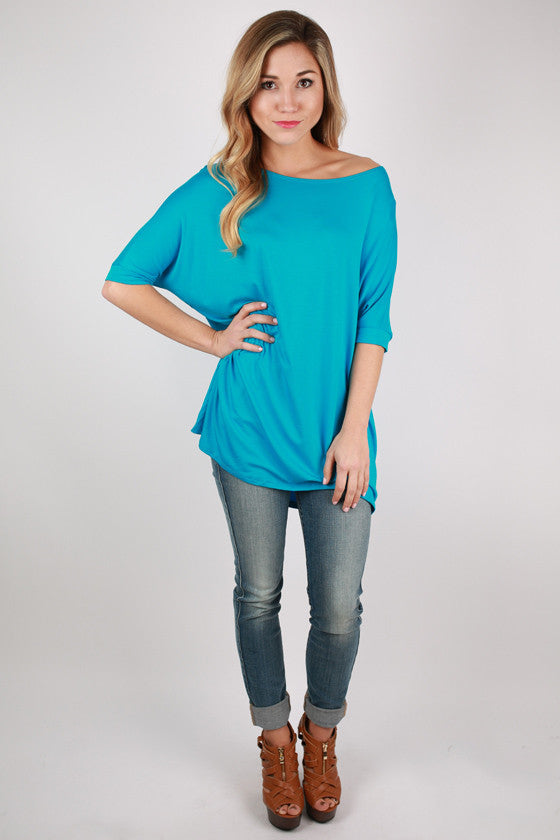 Bamboo Scoop Neck Short Sleeve Tee in Bright Blue