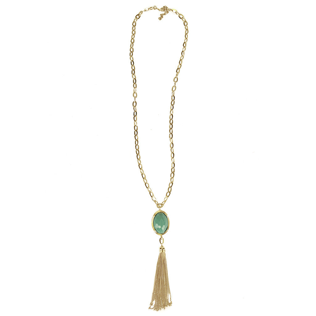 Oval Stone Chain Tassel Necklace