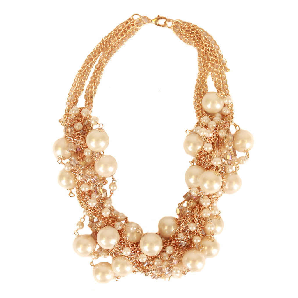Mix Pearls Layer Necklace Ivory