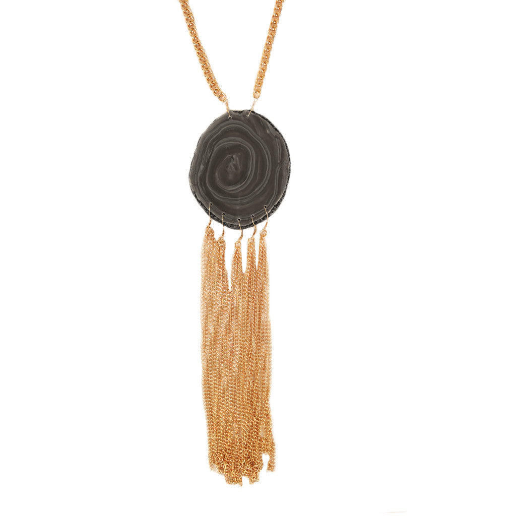 Tassel Agate Necklace in Black