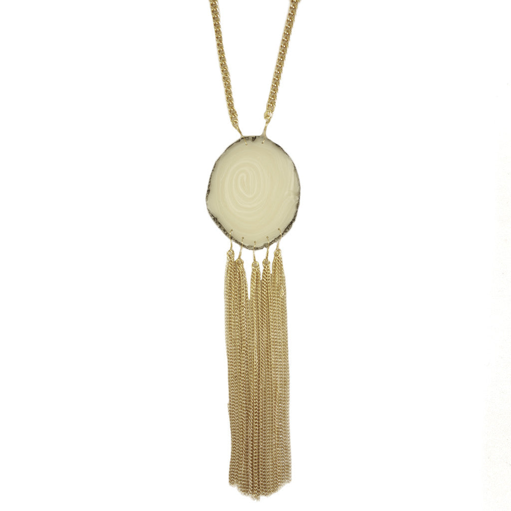 Tassel Agate Necklace in White