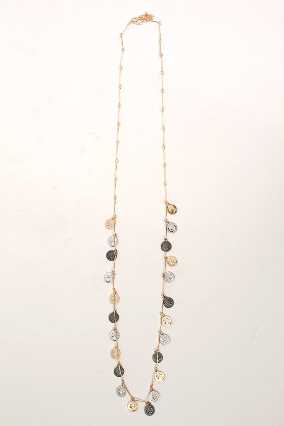 Mixed Coins Fringe Necklace