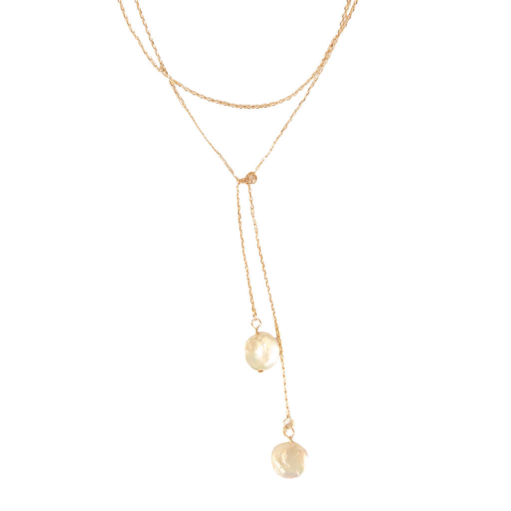 Double Drop Pearl Necklace Gold