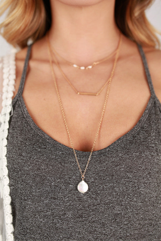 Pearl & Bar Layer Necklace