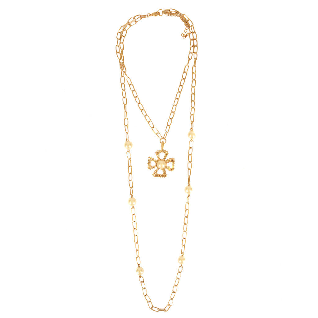 Cross Double Layer Necklace White