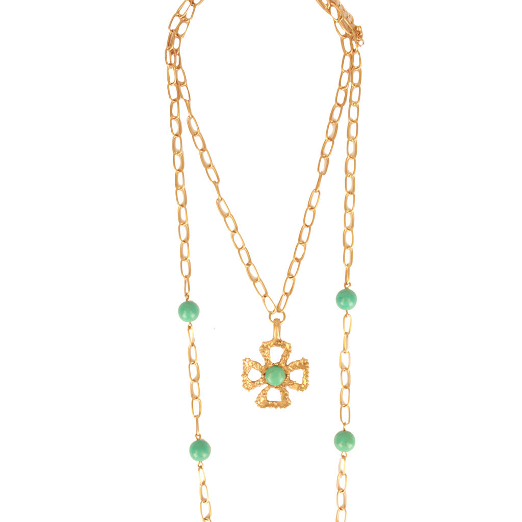 Cross Double Layer Necklace Turquoise