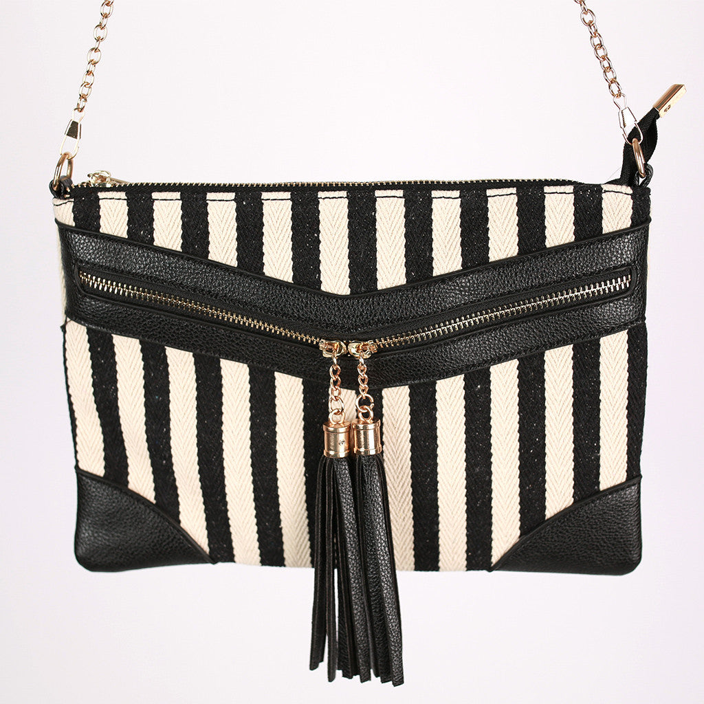 Nautical Stripe & Tassel Double Zip Convertible Clutch