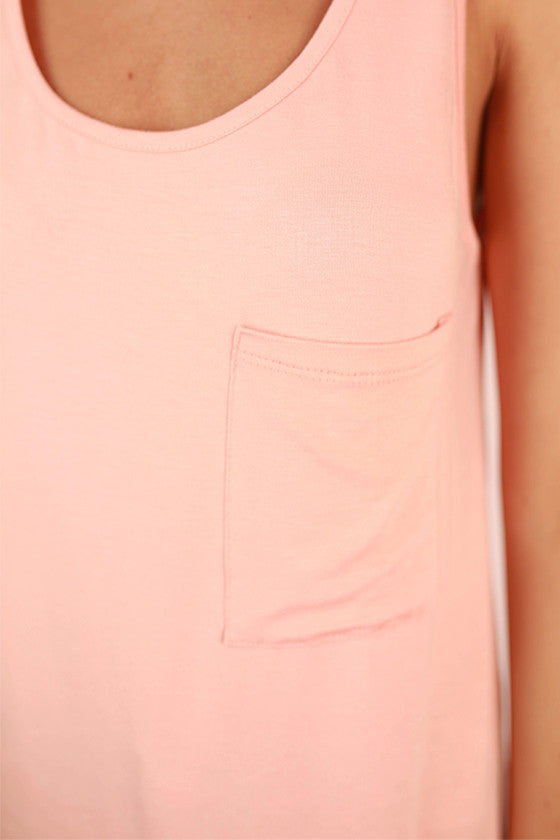 Bamboo Tunic Tank in Peach