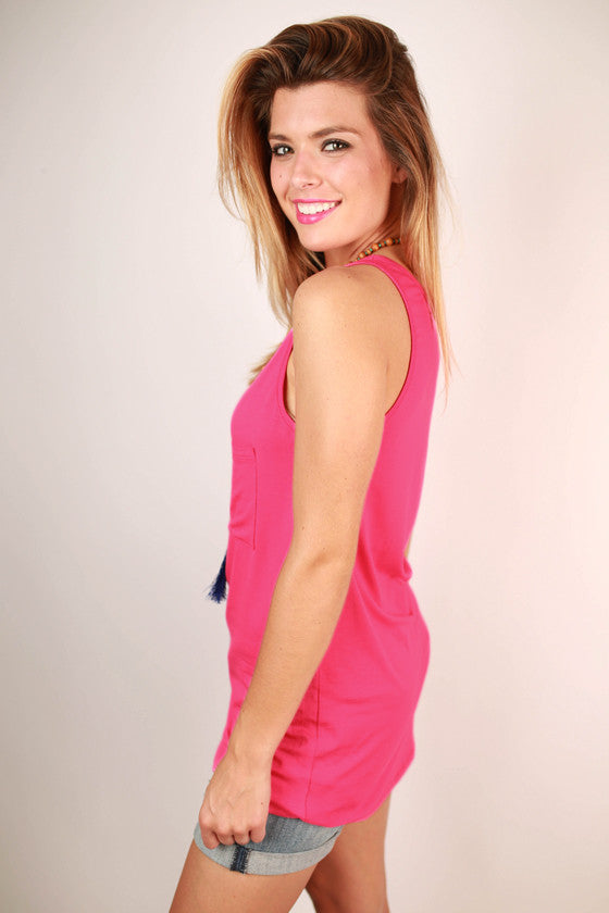 Bamboo Tunic Tank in Pink