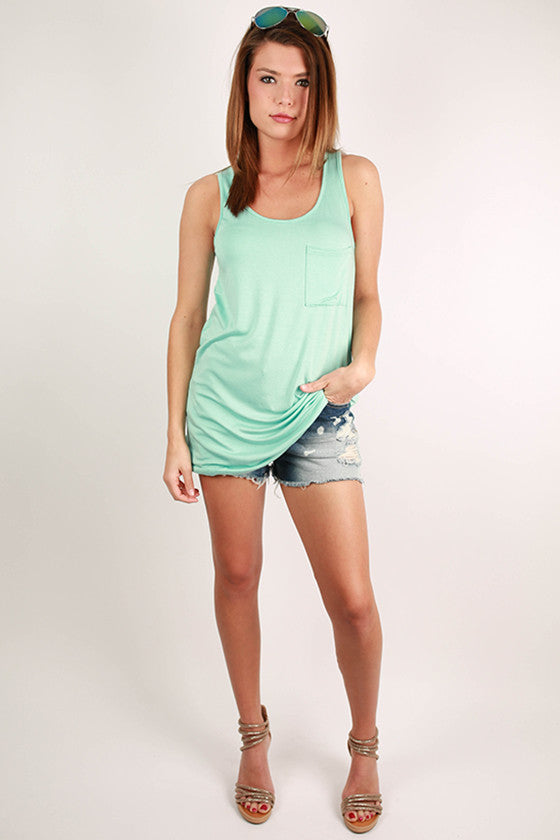 Bamboo Tunic Tank in Mint