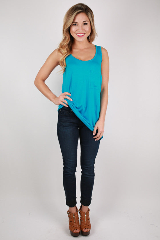 Bamboo Tunic Tank in Bright Blue