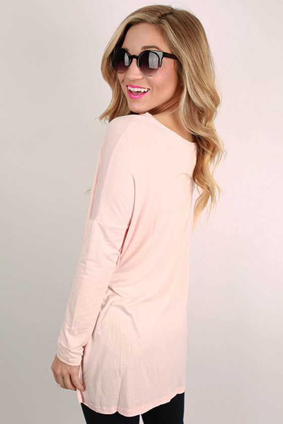Bamboo Long Sleeve Tunic in Baby Pink