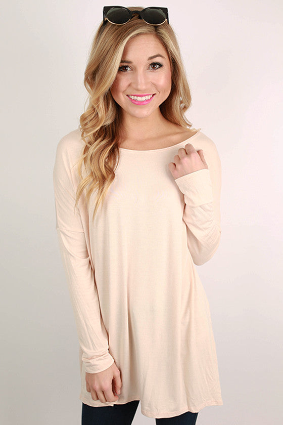 Bamboo Long Sleeve Tunic in Blush