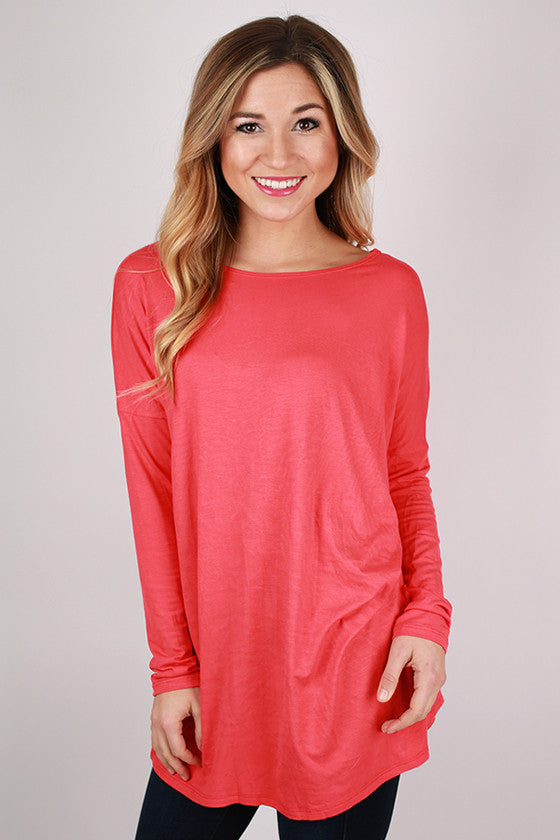 Bamboo Long Sleeve Tunic in Coral