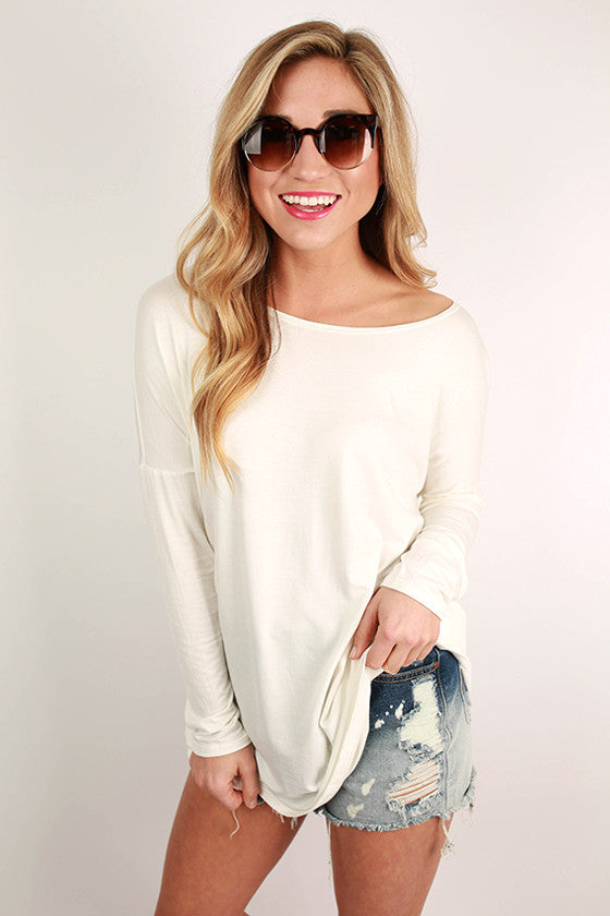 Bamboo Long Sleeve Tunic in Ivory