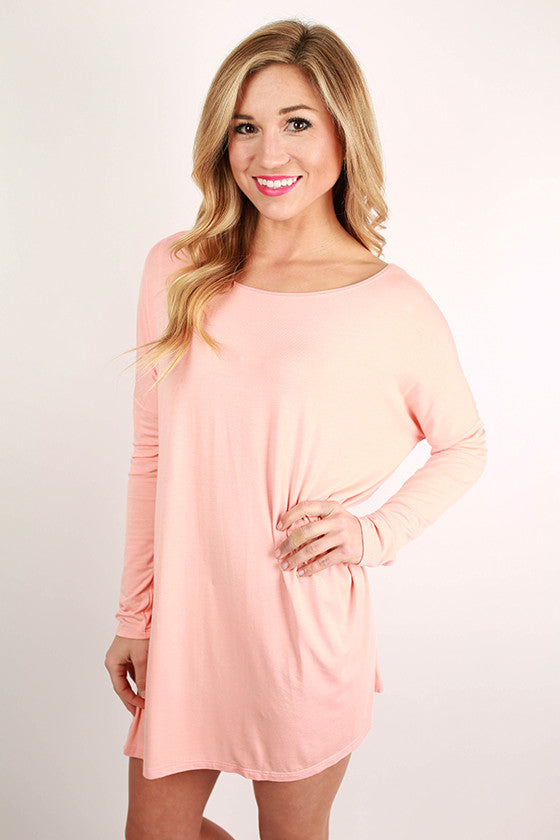 Bamboo Long Sleeve Tunic in Peach