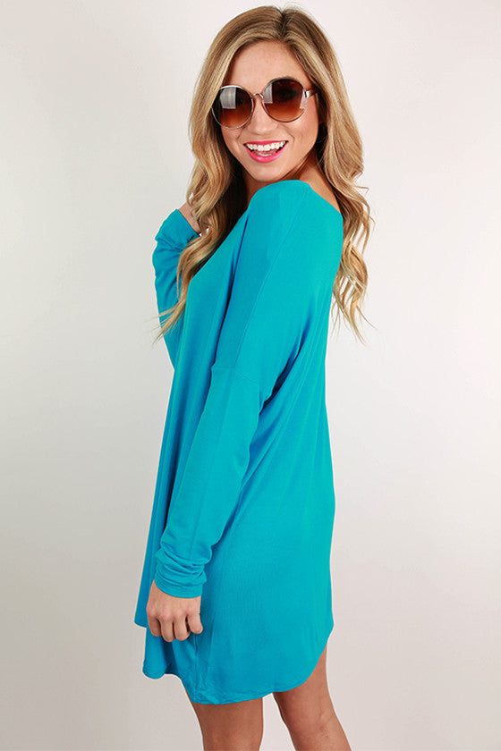 Bamboo Long Sleeve Tunic in Bright Blue