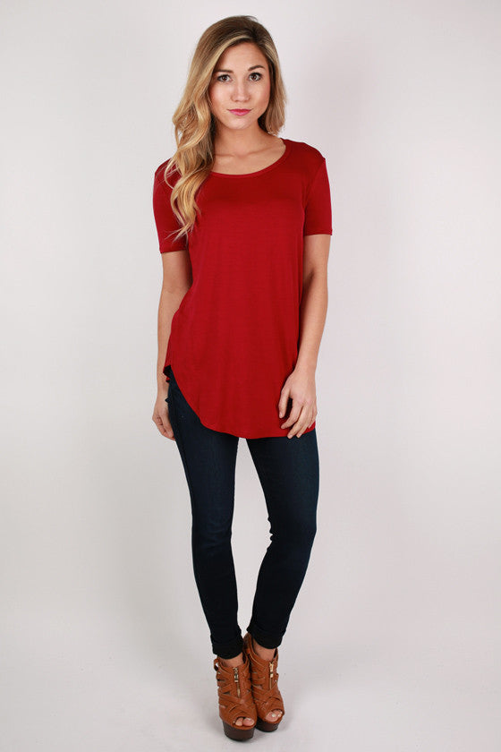 At First Crush Short Sleeve Scoop Tee in Burgundy