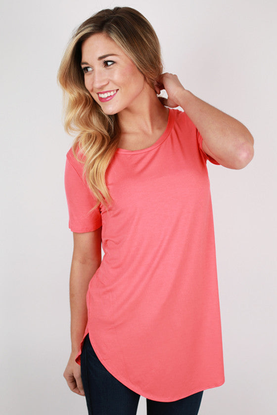 At First Crush Short Sleeve Scoop Tee in Coral